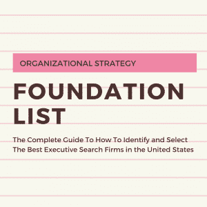 Image of the words ORGANIZATIONAL STRATEGY and Foundation List typed on notebook paper.