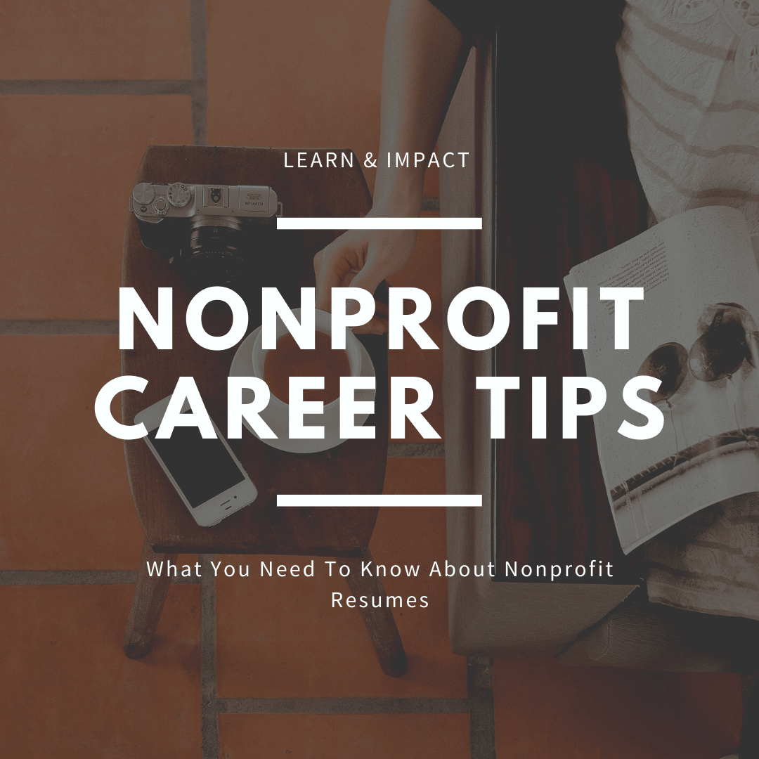 Nonprofit career tips words over a picture of a computer