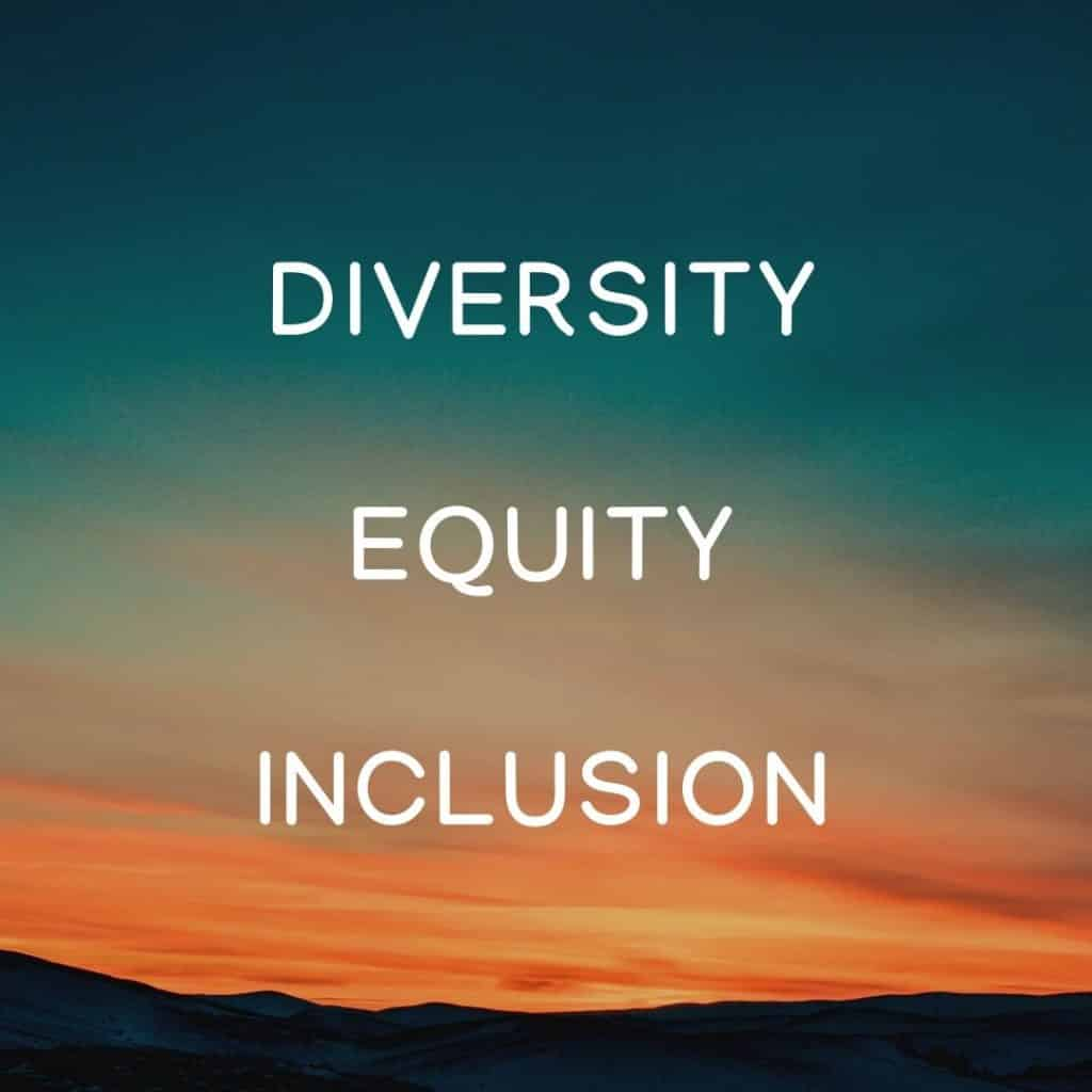 Image of sky and the words diversity, equity, inclusion