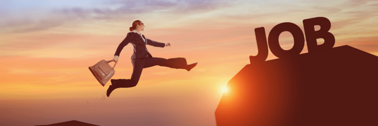 Image of person jumping for a new job in the sunset searching for online job boards